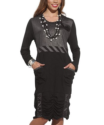 Black Ruched Mixed Media Dress - Women & Plus