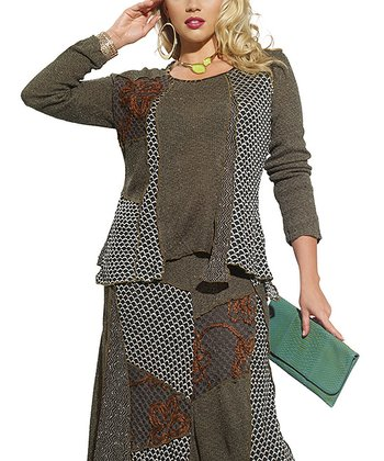 Chive & Red Mixed Media Tunic - Women & Plus