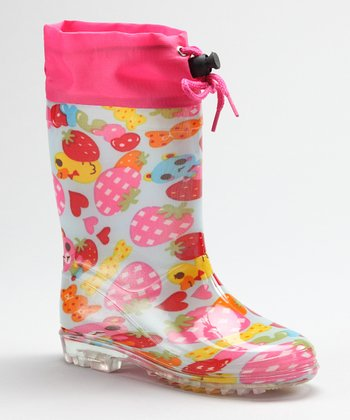 Pink Fruit Rain Boot - Kids