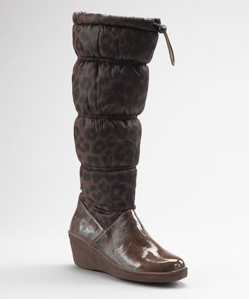 Brown Leopard Wedge Rain Boot - Women