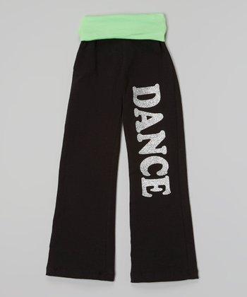 Happy Kids for Kids Black & Neon Lime Glitter 'Dance' - Girls