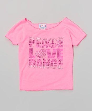Happy Kids for Kids Neon Pink 'Peace Love Dance' Crop Top - Girls