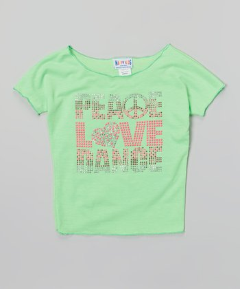 Happy Kids for Kids Neon Lime 'Peace Love Dance' Crop Top - Girls