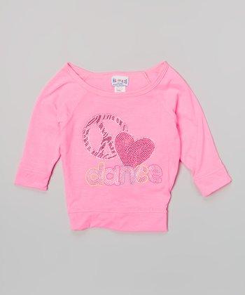 Happy Kids for Kids Neon Pink 'Dance' Three-Quarter-Sleeve Crop Top - Girls