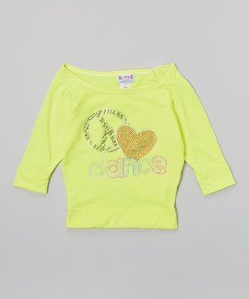 Happy Kids for Kids Neon Yellow 'Dance' Three-Quarter-Sleeve Crop Top - Girls