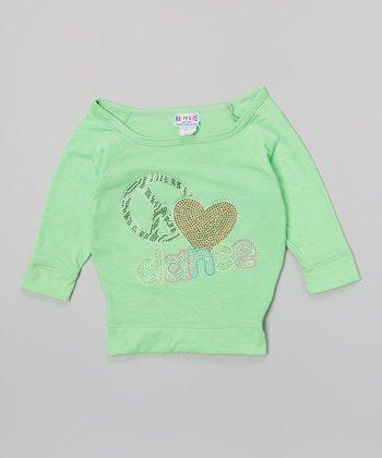 Happy Kids for Kids Neon Lime 'Dance' Three-Quarter-Sleeve Crop Top - Girls