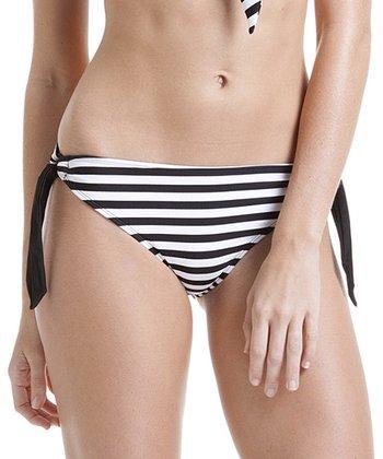 Black & White Stripe Side-Tie Bikini Bottoms