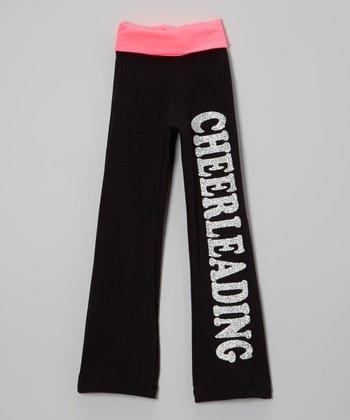 Neon Pink Glitter 'Cheerleading' Yoga Pants - Girls