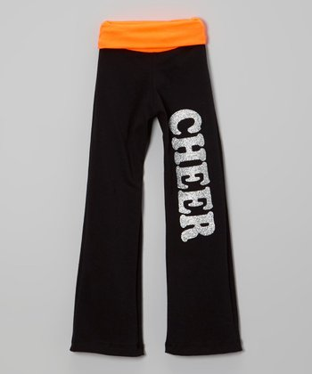 Neon Orange Glitter 'Cheer' Yoga Pants - Girls