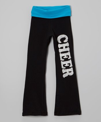 Blue Glitter 'Cheer' Yoga Pants - Girls