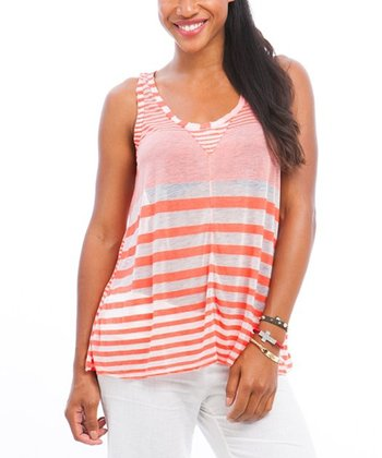 Orange & White Stripe Burnout Tank