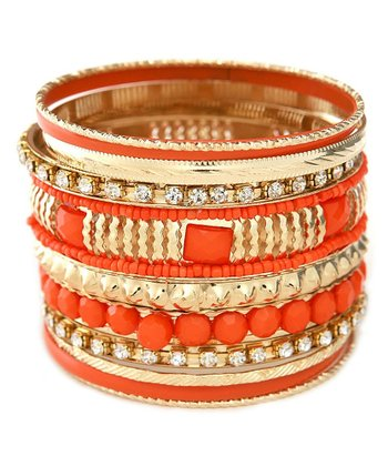 Gold & Orange Sparkle Bangle Set