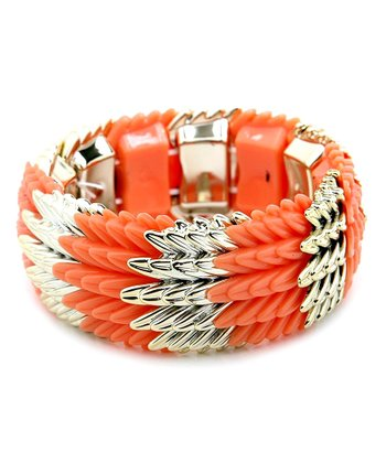 Gold & Orange Textured Stretch Bracelet