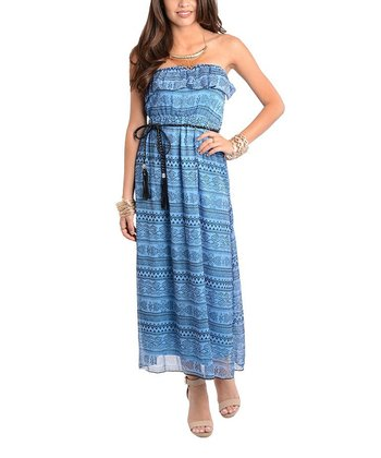 Blue Ruffle Belted Strapless Maxi Dress