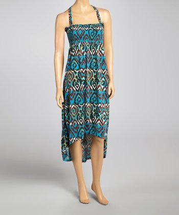 Blue & Brown Smocked Racerback Hi-Low Dress