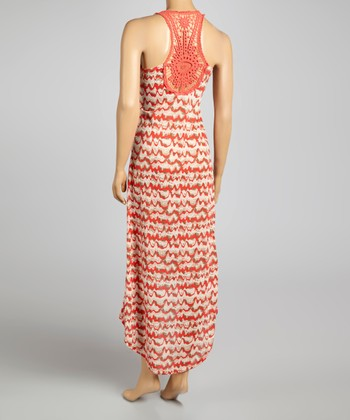 Rust & Beige Geometric Crocheted Hi-Low Dress
