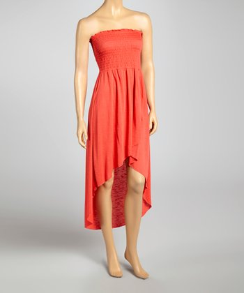 Coral Smocked Hi-Low Dress