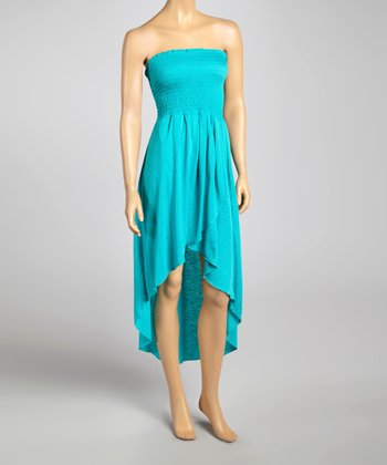 Aquamarine Smocked Hi-Low Dress