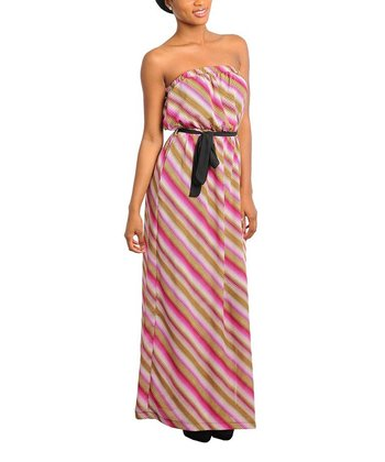 Magenta & Brown Stripe Tie-Waist Strapless Maxi Dress