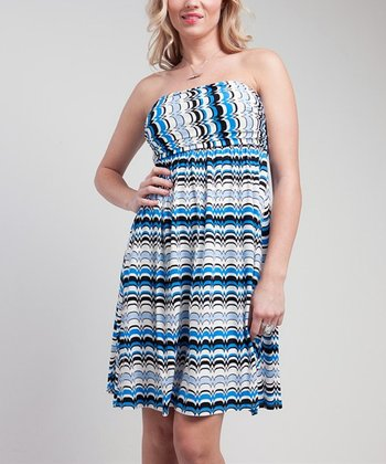 Blue & Cream Empire-Waist Strapless Dress
