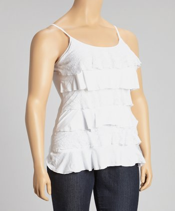 White Tiered Lace Camisole - Plus