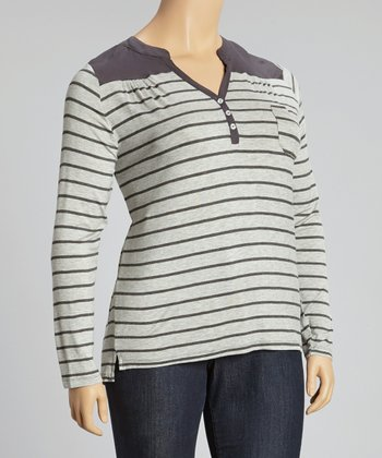 Heather Gray & Charcoal Stripe Top - Plus