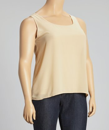 Tan Sheer Lace-Up Tank - Plus