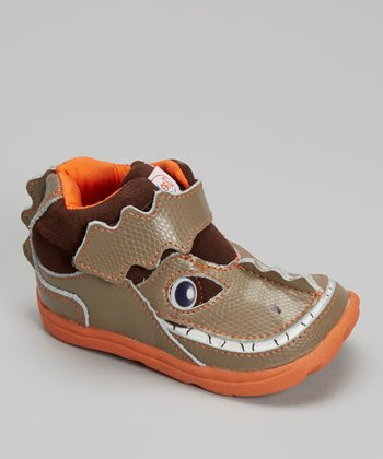 Zooligans Brown & Orange Deano the Dinosaur Boot