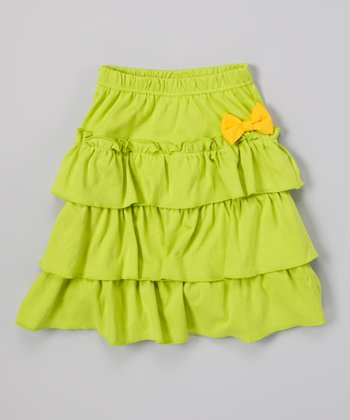 Green Tiered Ruffle Skirt - Girls