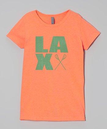Peanuts & Monkeys Neon Orange 'LAX' Tee - Girls
