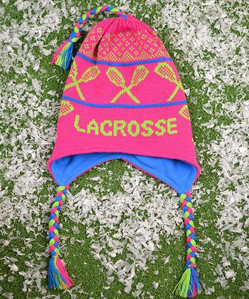 ChalkTalkSPORTS Fuchsia & Green 'Lacrosse' Earflap Beanie