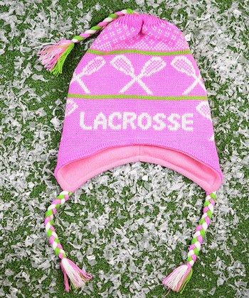 ChalkTalkSPORTS Pink & Green 'Lacrosse' Earflap Beanie