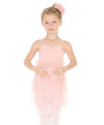 Whimsical Pink Ruffle Skirted Leotard - Girls