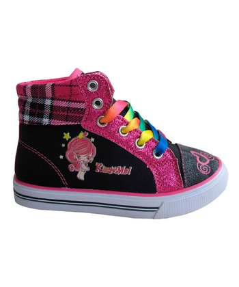 Black & Fuchsia Plaid Hi-Top Sneaker