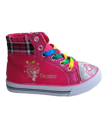 Fuchsia Plaid Hi-Top Sneaker