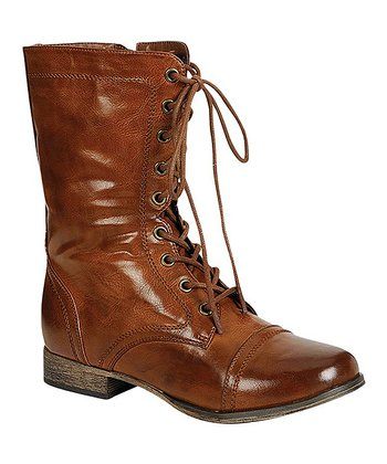 Tan Georgia Lace-Up Boot