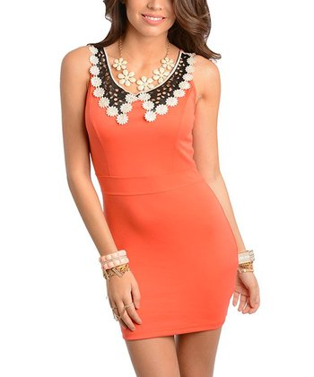 Coral & Black Flower Cutout-Collar Sheath Dress