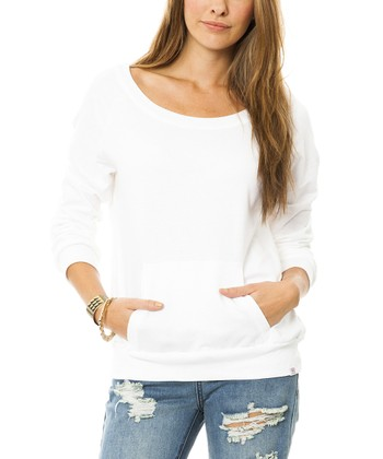 White Fleece Crewneck Pullover - Women