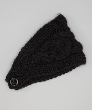 Black Cable-Knit Head Wrap