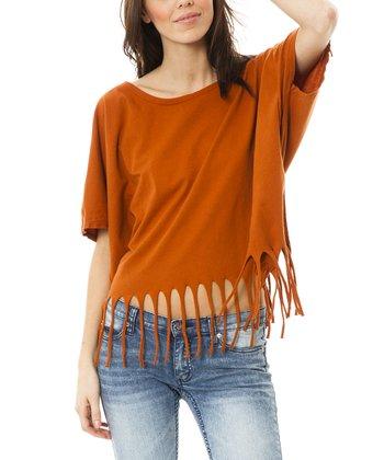 Burnt Orange Scoop Neck Top - Women