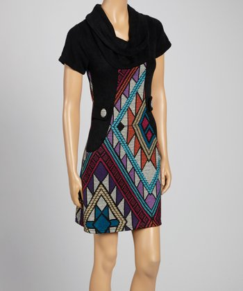 Blue & Black Sabine Cowl Neck Sweater Dress