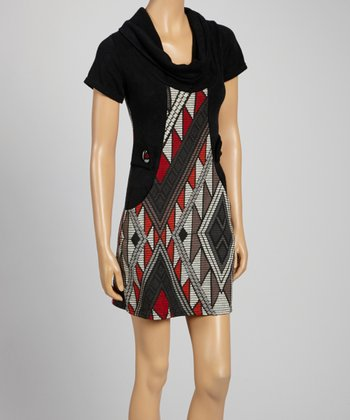 Red & Black Sabine Cowl Neck Sweater Dress