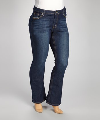 Dark Blue Contrast-Pocket Denim Straight-Leg Jeans - Plus