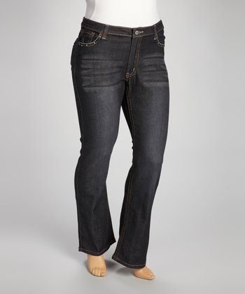 Dark Blue Denim Stitch-Pocket Straight-Leg Jeans - Plus
