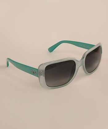 Turquoise & Green Rectangular Tonal Sunglasses