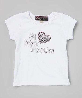 Girl ExtraOrdinaire White 'My Heart Belongs to Grandma' Tee - Girls