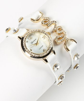 Silver & White Rhinestone 'Love' Wrap Watch