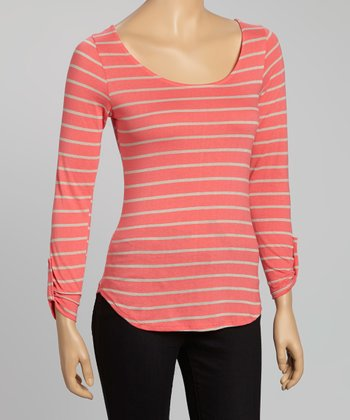 Coral Stripe Back Bow Cutout Top