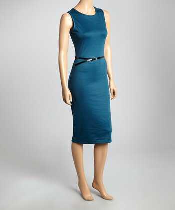 Teal Belted Sleeveless Sheath Dress