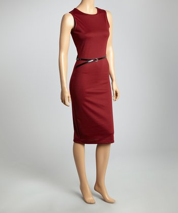 Wine Belted Sleeveless Sheath Dress